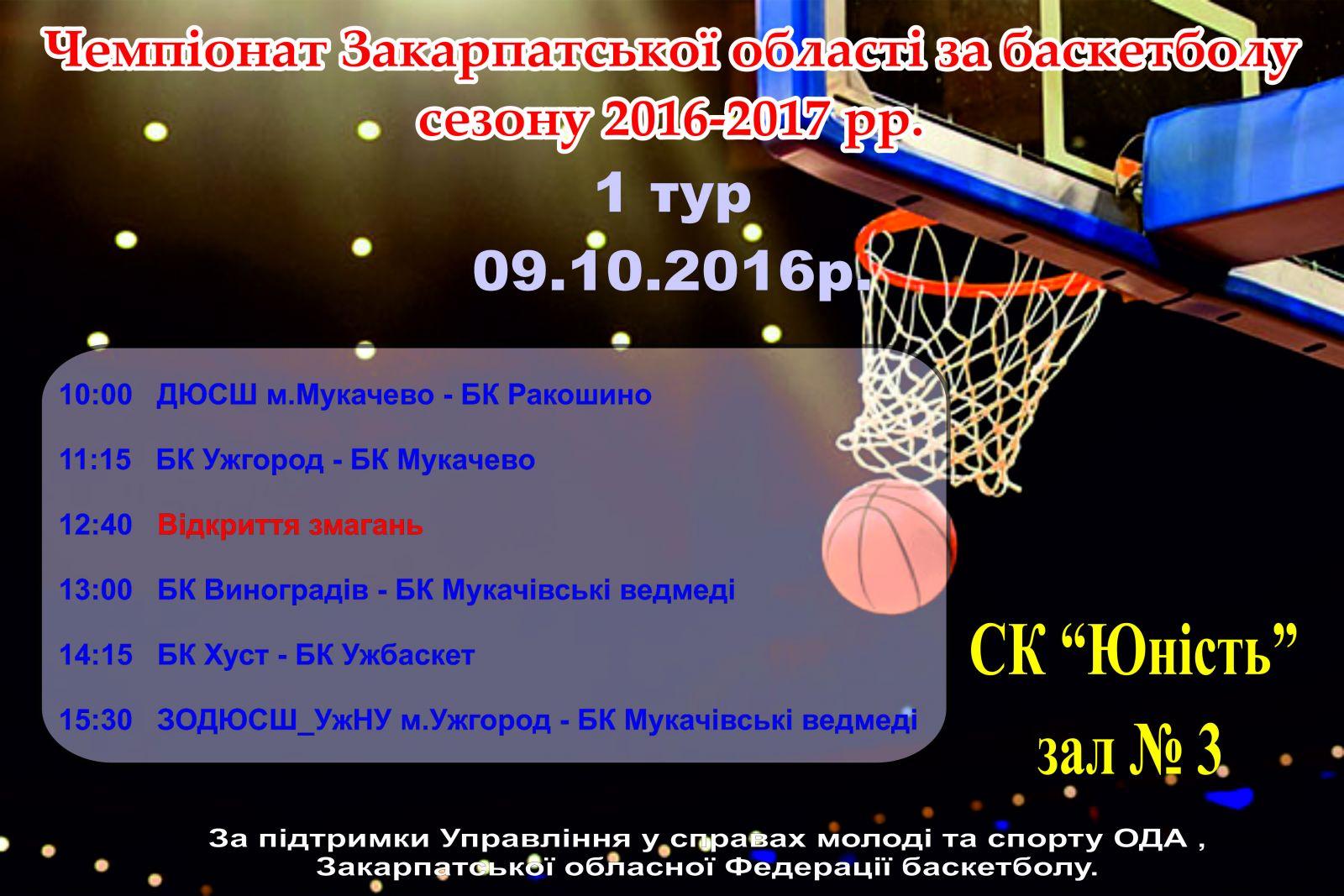 Чемпіонат Закарпаття з баскетболу стартує сьогодні